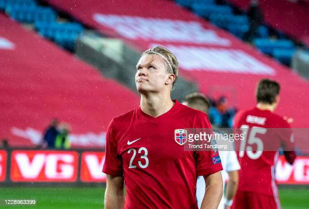 Erling Braut Haaland of Norway looks on during the UEFA Euro qualifier Semi-Finals between Norway v Serbia at Ullevaal Stadion on October 8, 2020 in...