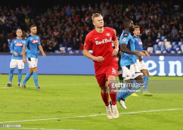 Erling Braut Haaland of RB Salzburg celebrates after scoring the 01 goal during the UEFA Champions League group E match between SSC Napoli and RB...