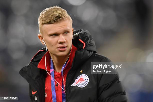 Erling Braut Haaland of RB Salzburg inspects the pitch ahead of the UEFA Champions League group E match between RB Salzburg and Liverpool FC at Red...