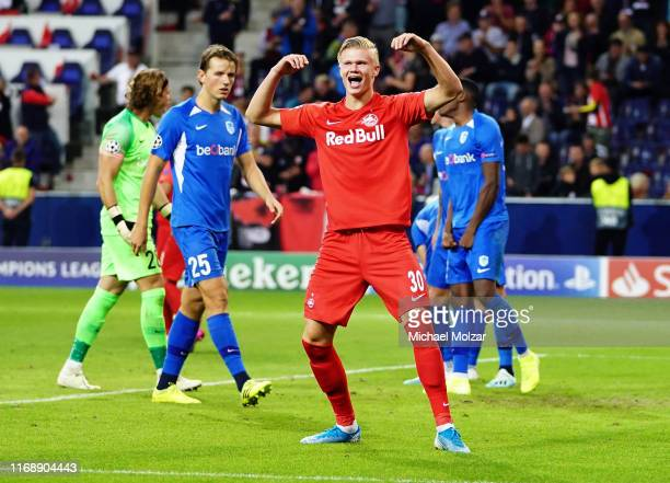 Erling Braut Haaland of Salzburg celebrates during the Group E UEFA Champions League match between Red Bull Salzburg and KRC Genk at Red Bull Arena...