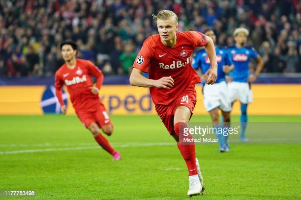 Erling Braut Haaland of Salzburg is celebrating his game tying goal during the Group E UEFA Champions League match between Red Bull Salzburg and SSC...