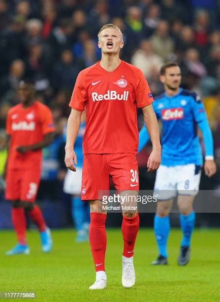 Erling Braut Haaland of Salzburg reacts after VAR decision no goal due to offside during the Group E UEFA Champions League match between Red Bull...