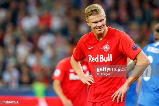 Erling Braut Haland of RB Leipzig looks on during the UEFA Champions League group E match between RB Salzburg and KRC Genk at Red Bull Arena on...