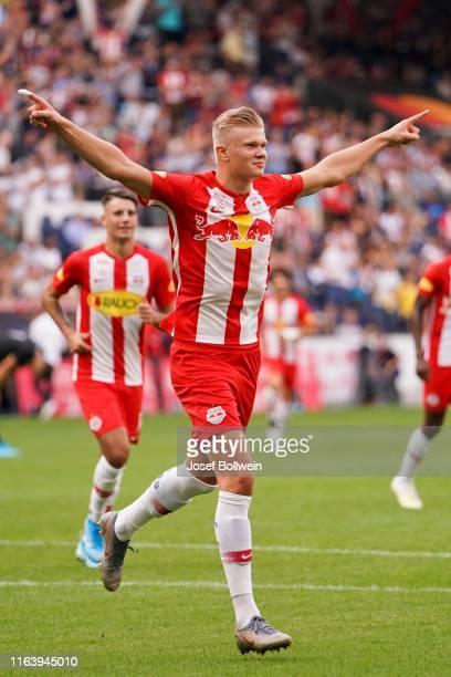 Erling Braut Haland of RB Salzburg celebrates after scoring a goal during the tipico Bundesliga match between FC Red Bull Salzburg and FC Flyeralarm...
