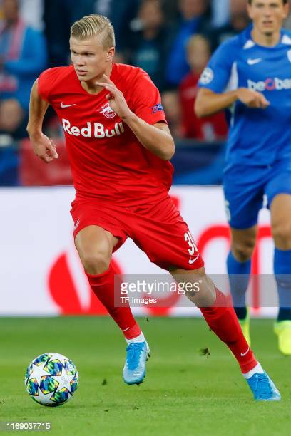 Erling Braut Haland of RB Salzburg controls the ball during the UEFA Champions League group E match between RB Salzburg and KRC Genk at Red Bull...
