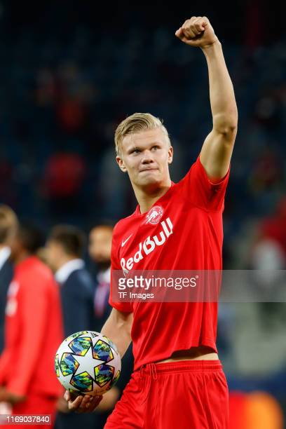 Erling Braut Haland of RB Salzburg gestures during the UEFA Champions League group E match between RB Salzburg and KRC Genk at Red Bull Arena on...