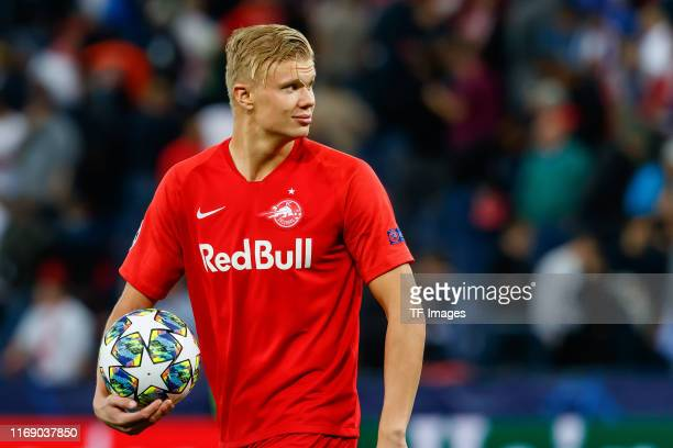 Erling Braut Haland of RB Salzburg looks on during the UEFA Champions League group E match between RB Salzburg and KRC Genk at Red Bull Arena on...