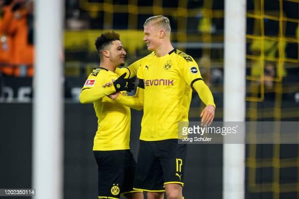 Erling Haaland and Jadon Sancho of Dortmund celebrate their teams forth goal during the Bundesliga match between Borussia Dortmund and 1 FC Koeln at...