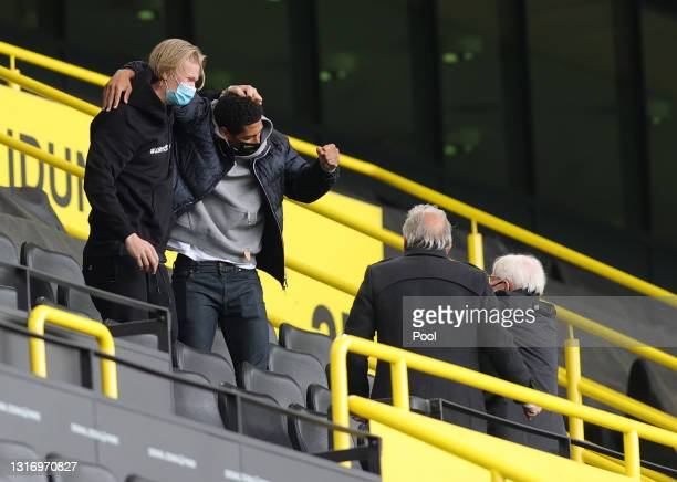 Erling Haaland and Jude Bellingham of Borussia Dortmund celebrates their side's victory from the stands after the Bundesliga match between Borussia...