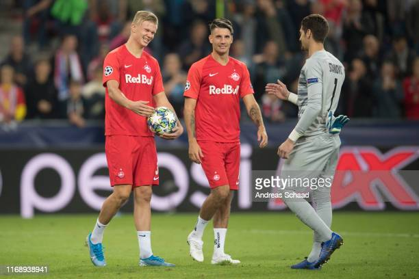 Erling Haaland Dominik Szoboszlai and goalkeeper Cican Stankovic all of FC Salzburg celebrate after the champions league group E match between FC...