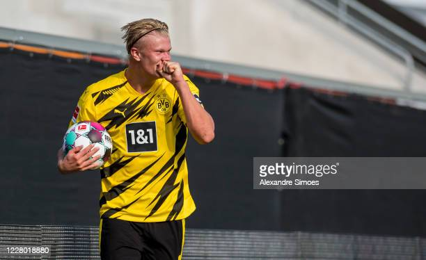 Erling Haaland of Borrusia Dortmund celebrates during the Pre-Season Friendly match between SCR Altach v Borussia Dortmund at CASHPOINT ARENA on...