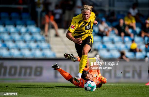 Erling Haaland of Borrusia Dortmund runs for the ball during the Pre-Season Friendly match between SCR Altach v Borussia Dortmund at CASHPOINT ARENA...