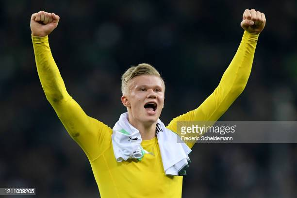 Erling Haaland of Borussia Dortmund acknowledges the fans after the Bundesliga match between Borussia Moenchengladbach and Borussia Dortmund at...
