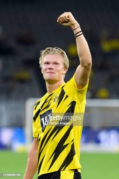 Erling Haaland of Borussia Dortmund celebrate after winning the Bundesliga match between Borussia Dortmund and Borussia Moenchengladbach at Signal...