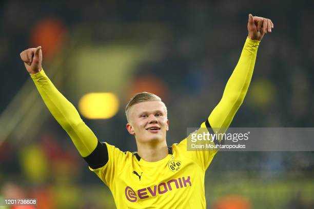 Erling Haaland of Borussia Dortmund celebrates after he scores his sides 5th goal and his 2nd of the game during the Bundesliga match between...