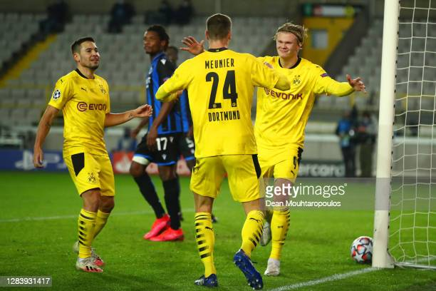 Erling Haaland of Borussia Dortmund celebrates after he scores his team's third goal during the UEFA Champions League Group F stage match between...