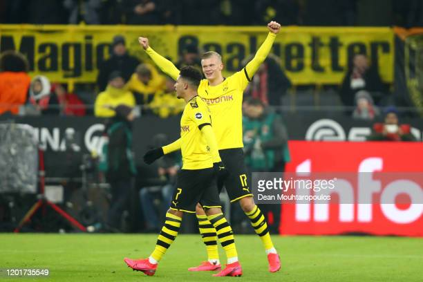 Erling Haaland of Borussia Dortmund celebrates after scoring his sides 4th goal during the Bundesliga match between Borussia Dortmund and 1 FC Koeln...