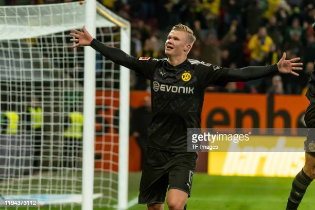 Erling Haaland of Borussia Dortmund celebrates after scoring his team's fifth goal during the Bundesliga match between FC Augsburg and Borussia...