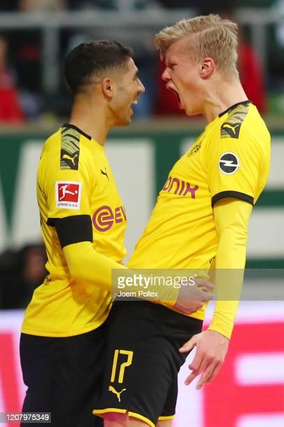 Erling Haaland of Borussia Dortmund celebrates after scoring his sides second goal during the Bundesliga match between SV Werder Bremen and Borussia...