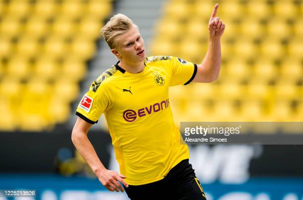Erling Haaland of Borussia Dortmund celebrates after scoring his teams first goal during the Bundesliga match between Borussia Dortmund and FC...