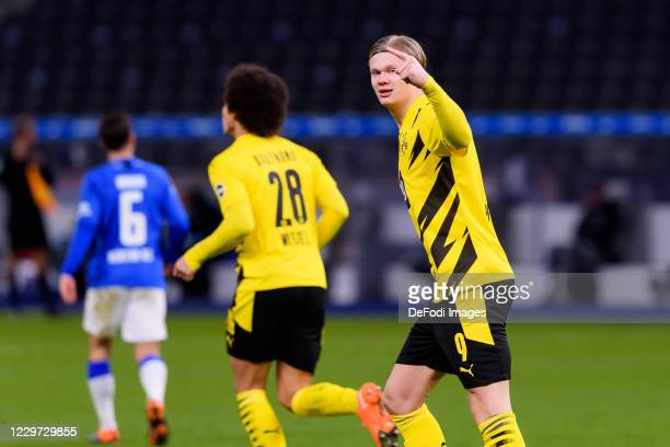 Erling Haaland of Borussia Dortmund celebrates after scoring his team's first goal during the Bundesliga match between Hertha BSC and Borussia...