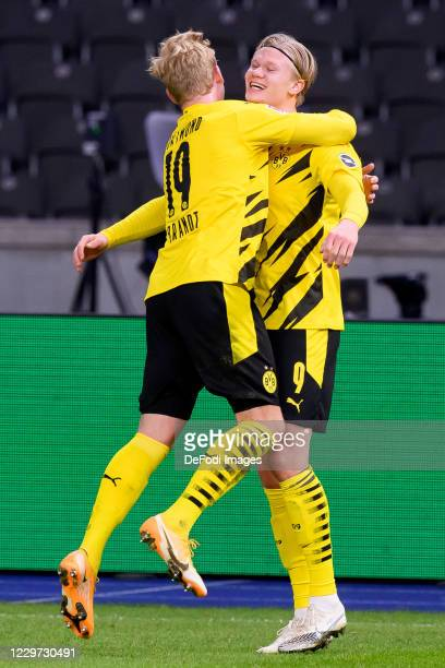 Erling Haaland of Borussia Dortmund celebrates after scoring his team's fourth goal during the Bundesliga match between Hertha BSC and Borussia...