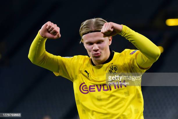 Erling Haaland of Borussia Dortmund celebrates after scoring his team's first goal during the UEFA Champions League Group F stage match between...