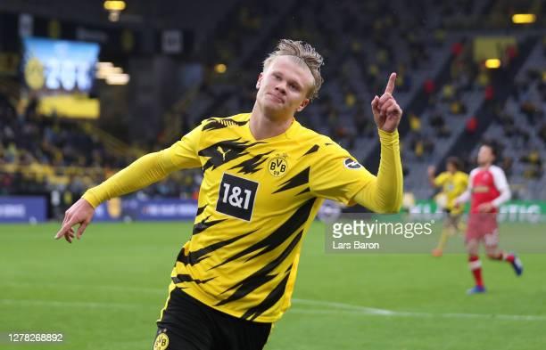 Erling Haaland of Borussia Dortmund celebrates after scoring his team's third goal during the Bundesliga match between Borussia Dortmund and...