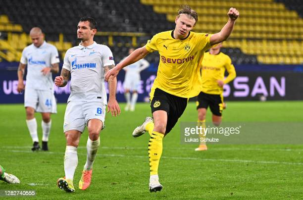 Erling Haaland of Borussia Dortmund celebrates after scoring his sides second goal during the UEFA Champions League Group F stage match between...