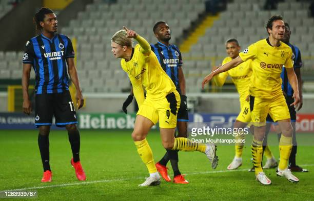 Erling Haaland of Borussia Dortmund celebrates after scoring his sides third goal during the UEFA Champions League Group F stage match between Club...