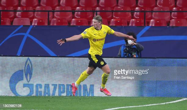 Erling Haaland of Borussia Dortmund celebrates after scoring his team's third goal during the UEFA Champions League Round of 16 match between Sevilla...