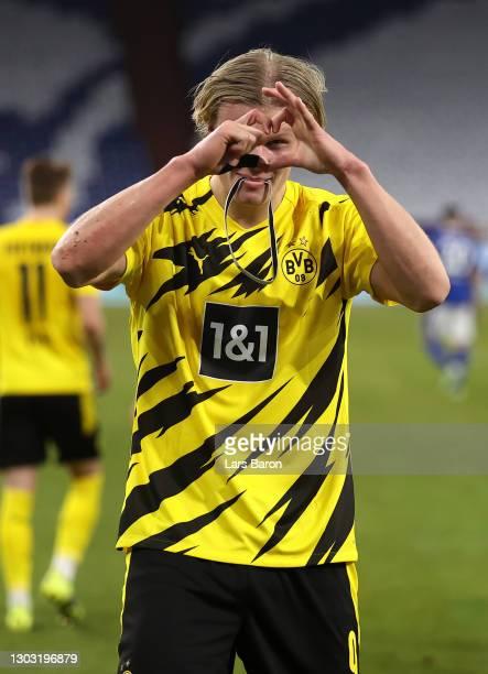 Erling Haaland of Borussia Dortmund celebrates after scoring his team's second goal during the Bundesliga match between FC Schalke 04 and Borussia...