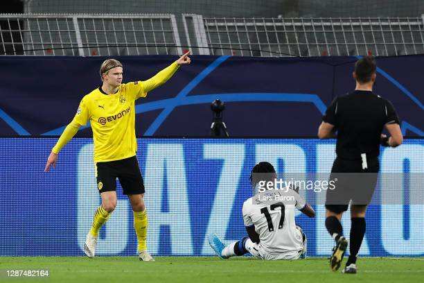 Erling Haaland of Borussia Dortmund celebrates after scoring their team's first goal during the UEFA Champions League Group F stage match between...