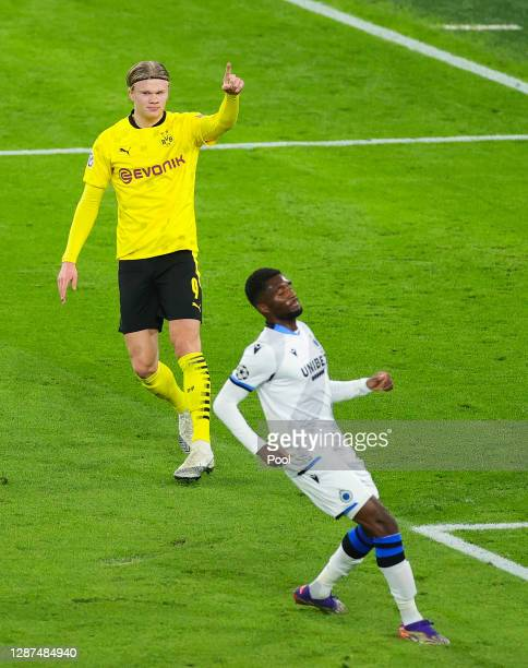 Erling Haaland of Borussia Dortmund celebrates after scoring their sides first goal during the UEFA Champions League Group F stage match between...