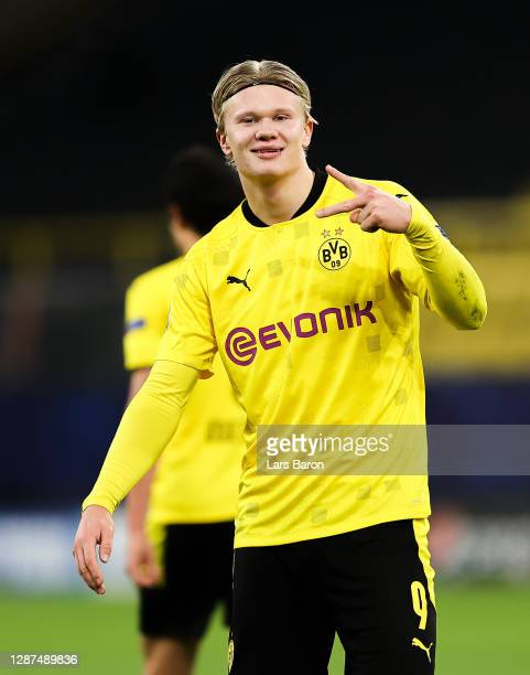 Erling Haaland of Borussia Dortmund celebrates after scoring their sides third goal during the UEFA Champions League Group F stage match between...