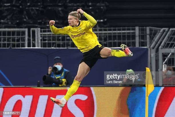 Erling Haaland of Borussia Dortmund celebrates after scoring their side's second goal from the penalty spot during the UEFA Champions League Round of...