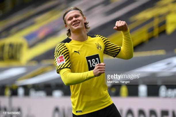 Erling Haaland of Borussia Dortmund celebrates after scoring their team's first goal during the Bundesliga match between Borussia Dortmund and Bayer...