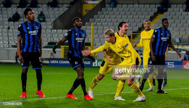 Erling Haaland of Borussia Dortmund celebrates scoring a goal to make it 0:2 during the Champions League match between Club Brugge KV and Borussia...