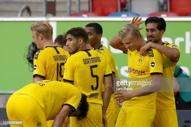 Erling Haaland of Borussia Dortmund celebrates scoring a goal with team mates during the Bundesliga match between Fortuna Duesseldorf and Borussia...