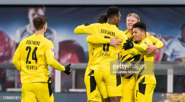 Erling Haaland of Borussia Dortmund celebrates scoring his goal to the 0:2 during the Bundesliga match between RB Leipzig and Borussia Dortmund at...