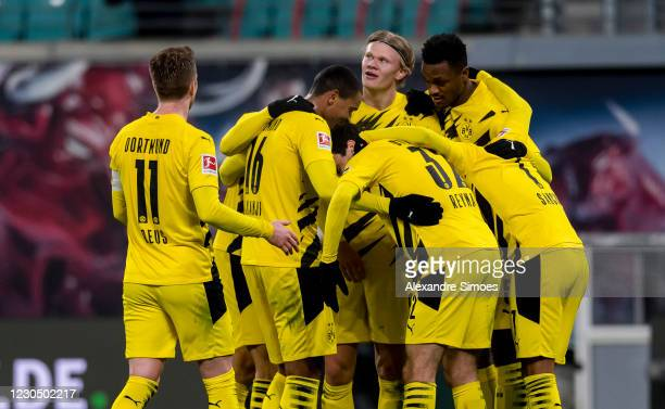 Erling Haaland of Borussia Dortmund celebrates scoring his goal to the 0:3 during the Bundesliga match between RB Leipzig and Borussia Dortmund at...
