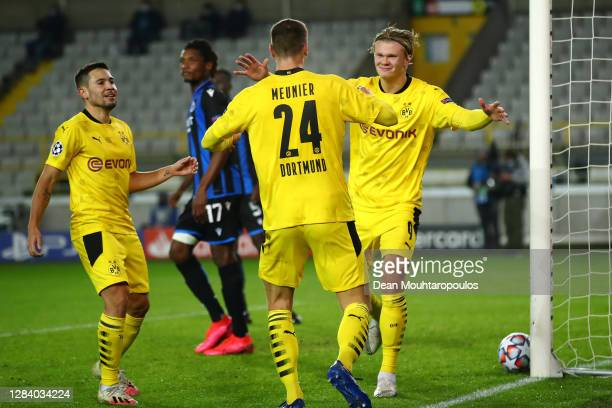 Erling Haaland of Borussia Dortmund celebrates scoring his teams second goal of the game during the UEFA Champions League Group F stage match between...