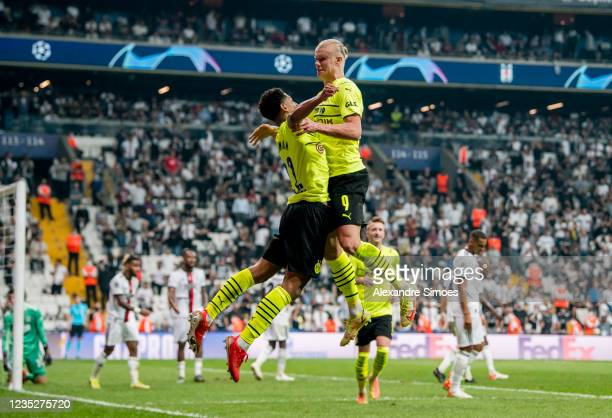 Erling Haaland of Borussia Dortmund celebrates scoring the goal to the 0:2 during the Champions League Group C match between Besiktas and Borussia...