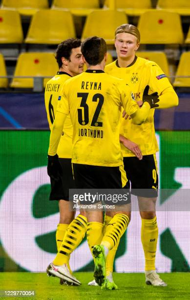 Erling Haaland of Borussia Dortmund celebrates scoring the opening goal during the Champions League match between Borussia Dortmund and Club Brugge...