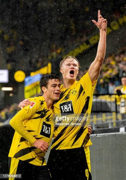 Erling Haaland of Borussia Dortmund celebrates scoring the opening goal during the Bundesliga match between Borussia Dortmund and Sport-Club Freiburg...