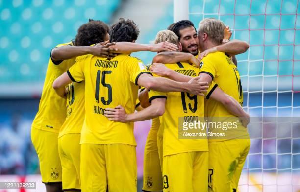 Erling Haaland of Borussia Dortmund celebrates scoring the winning goal during the Bundesliga match between RB Leipzig and Borussia Dortmund at the...