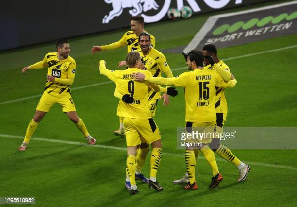 Erling Haaland of Borussia Dortmund celebrates with teammates Emre Can, Mats Hummels and Dan-Axel Zagadou after scoring their sides second goal...