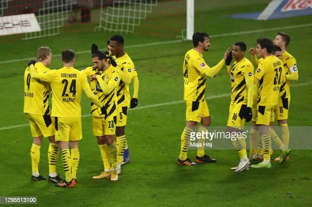 Erling Haaland of Borussia Dortmund celebrates with teammates Thomas Meunier, Emre Can and Dan-Axel Zagadou after scoring their sides second goal...