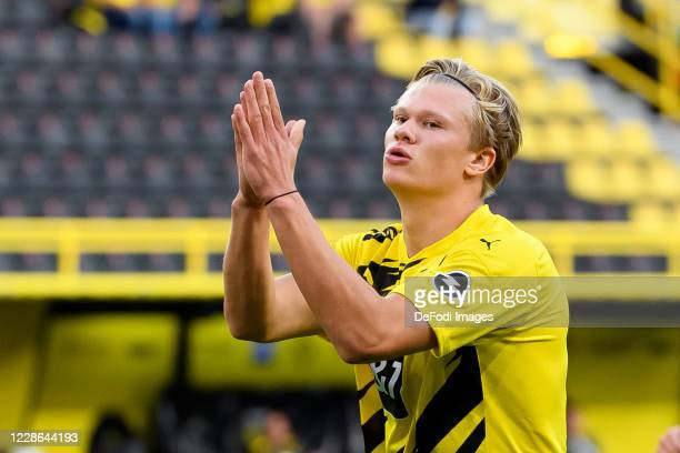 Erling Haaland of Borussia Dortmund gestures during the Bundesliga match between Borussia Dortmund and Borussia Moenchengladbach at Signal Iduna Park...