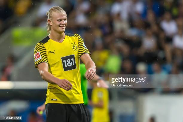 Erling Haaland of Borussia Dortmund gestures during the Preseason Friendly Match between Borussia Dortmund and FC Bologna at CASHPOINT Arena on July...
